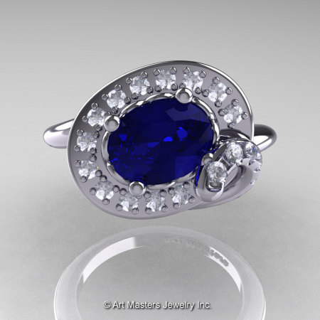 Art Nouveau 14K White Gold Oval 1.0 Ct Royal Blue Sapphire Diamond Nature Inspired Engagement Ring R296A-14KWGDBS-1
