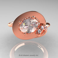 Art Nouveau 14K Rose Gold 1.0 Ct Oval Morganite Diamond Nature Inspired Engagement Ring R296-14KRGDMO-1