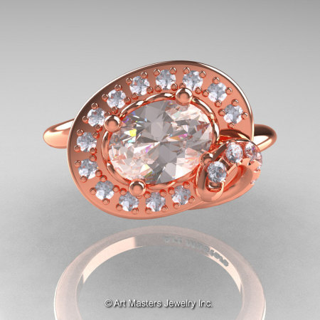 Art Nouveau 14K Rose Gold 1.0 Ct Oval Morganite Diamond Nature Inspired Engagement Ring R296A-14KRGDMO-1