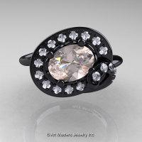 Art Nouveau 14K Black Gold 1.0 Ct Oval Morganite Diamond Nature Inspired Engagement Ring R296A-14KBGDMO-1