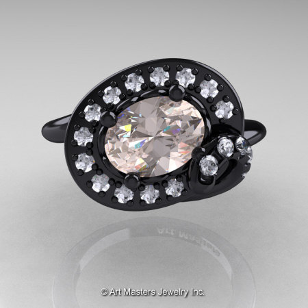 Art Nouveau 14K Black Gold 1.0 Ct Oval Morganite Diamond Nature Inspired Engagement Ring R296A-14KBGDMO-1