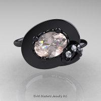 Art Nouveau 14K Black Gold 1.0 Ct Oval Morganite Diamond Nature Inspired Engagement Ring R296-14KBGDMO-1