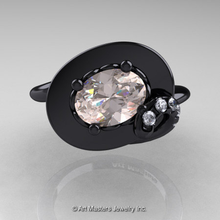 Art Nouveau 14K Black Gold 1.0 Ct Oval Morganite Diamond Nature Inspired Engagement Ring R296-14KBGDMO-1