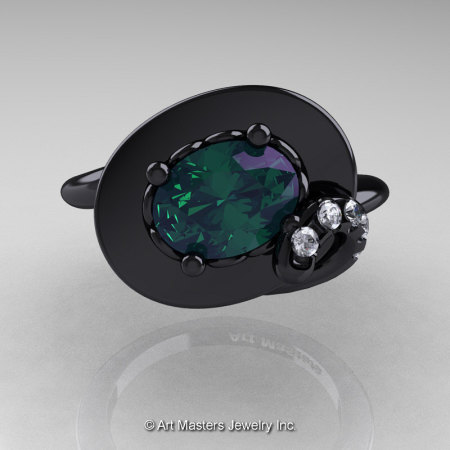 Art Nouveau 14K Black Gold 1.0 Ct Oval Alexandrite Diamond Nature Inspired Engagement Ring R296-14KBGDAL-1