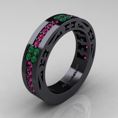 Womens Modern Vintage 14K Black Gold Pink Sapphire Emerald Wedding Band R474F-14KBGEMPS-1