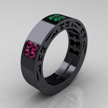 Mens Modern Vintage 14K Black Gold Pink Sapphire Emerald Wedding Band R474M-14KBGEMPS-1