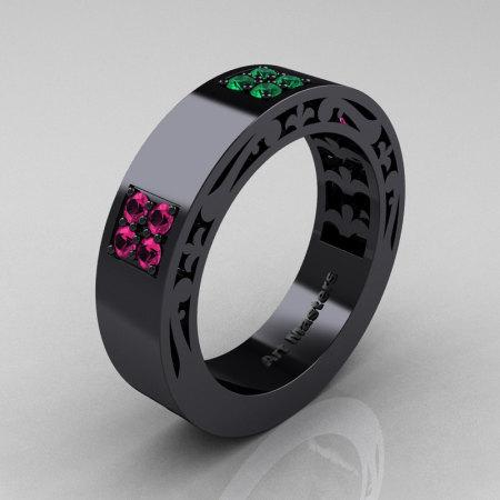 Mens Modern Vintage 14K Black Gold Pink Sapphire Emerald Wedding Band R474M-14KBGEMPS-1