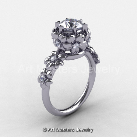 Summer Collection 14K White Gold 1.0 Carat White Sapphire Diamond Flower Engagement Ring NN109-14KWGDWS-1