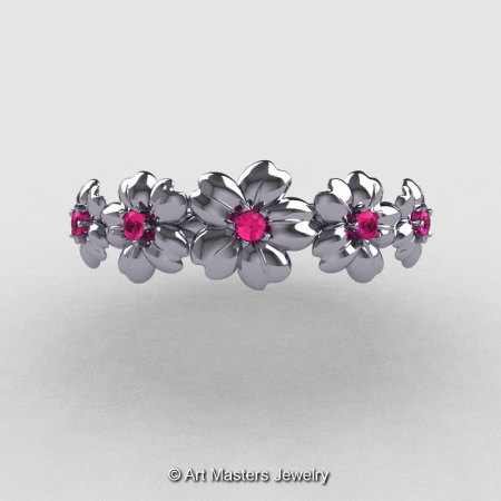 Summer Collection 14K White Gold Pink Sapphire Five Petal Flower Wedding Band NN109B-14KWGPS-1
