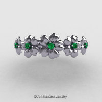 Summer Collection 14K White Gold Emerald Five Petal Flower Wedding Band NN109B-14KWGEM-1