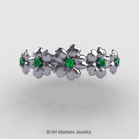 Summer Collection 14K White Gold Emerald Five Petal Flower Wedding Band NN109B-14KWGEM-1