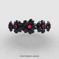 Summer Collection 14K Black Gold Pink Sapphire Five Petal Flower Wedding Band NN109B-14KBGPS-1