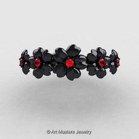 Summer Collection 14K Black Gold Rubies Five Petal Flower Wedding Band NN109B-14KBGR-1