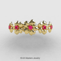 Summer Collection 14K Yellow Gold Pink Sapphire Five Petal Flower Wedding Band NN109B-14KYGPS-1