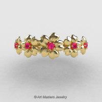 Summer Collection 14K Yellow Gold Pink Sapphire Five Petal Flower Wedding Band NN109B-14KYGPS-1