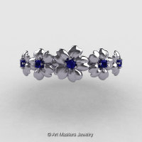 Summer Collection 14K White Gold Blue Sapphire Five Petal Flower Wedding Band NN109B-14KWGBS-1