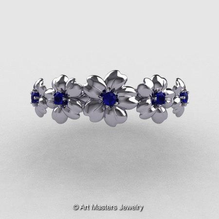 Summer Collection 14K White Gold Blue Sapphire Five Petal Flower Wedding Band NN109B-14KWGBS-1