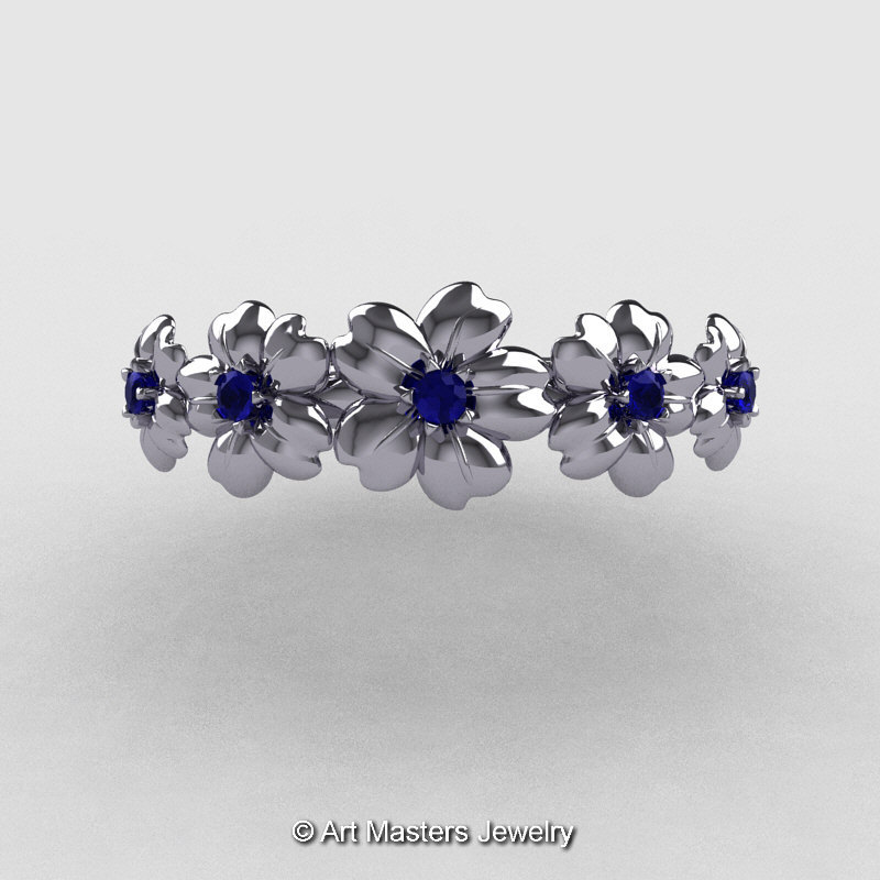 Summer Collection 14K White Gold Blue Sapphire Five Petal Flower