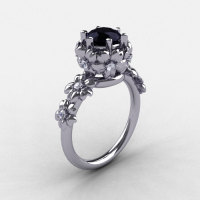 Summer Collection 14K White Gold 1.0 Carat Black and White Diamond Flower Engagement Ring NN109-14KWGDBD-1
