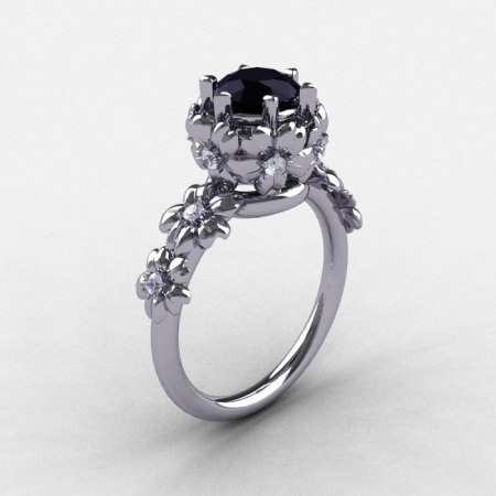 Summer Collection 14K White Gold 1.0 Carat Black and White Diamond Flower Engagement Ring NN109-14KWGDBD-1
