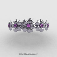 Summer Collection 14K White Gold Lilac Amethyst Five Petal Flower Wedding Band NN109B-14KWGLAM-1