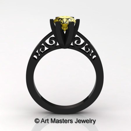 14K Black Gold New Fashion Gorgeous Solitaire 1.0 Carat Yellow Sapphire Bridal Wedding Ring Engagement Ring R26N-14KBGYS-1