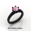 14K Black Gold New Fashion Gorgeous Solitaire 1.0 Carat Light Pink Sapphire Bridal Wedding Ring Engagement Ring R26N-14KBGLPS-3