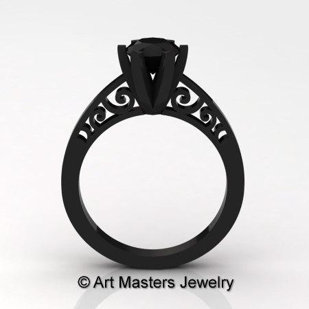 14K Black Gold New Fashion Gorgeous Solitaire 1.0 Carat Black Moissanite Bridal Wedding Ring Engagement Ring R26N-14KBGBM-1