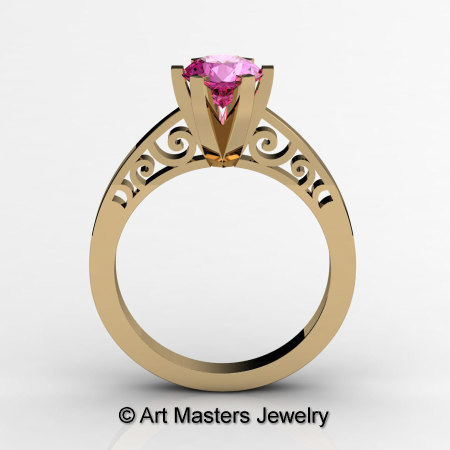 14K Yellow Gold New Fashion Gorgeous Solitaire 1.0 Carat Pink Sapphire Bridal Wedding Ring Engagement Ring R26N-14KYGPS-1