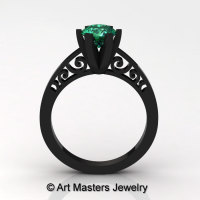 14K Black Gold New Fashion Gorgeous Solitaire 1.0 Carat Emerald Bridal Wedding Ring Engagement Ring R26N-14KBGEM-1