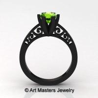 14K Black Gold New Fashion Gorgeous Solitaire 1.0 Carat Peridot Bridal Wedding Ring Engagement Ring R26N-14KBGP-1