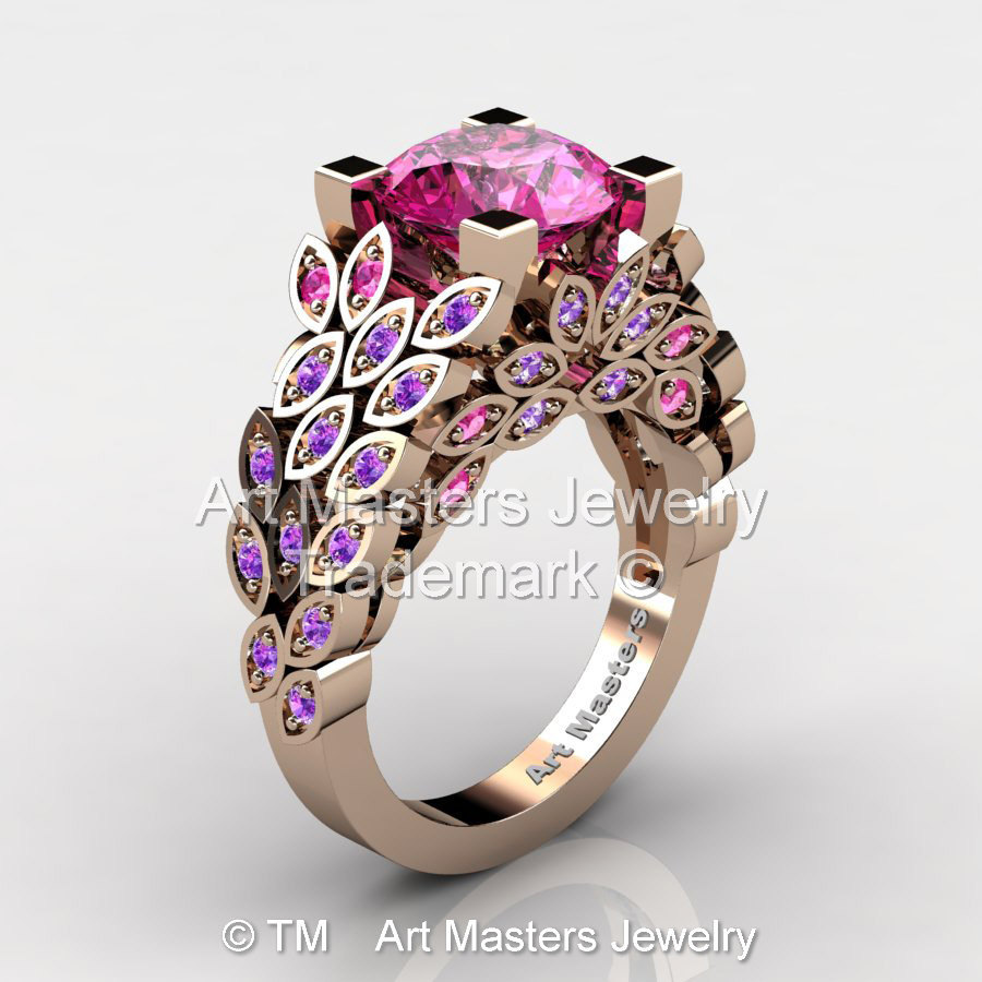 Art Masters Nature Inspired 14K Rose Gold 3 0 Ct Pink Sapphire Amethyst Engag