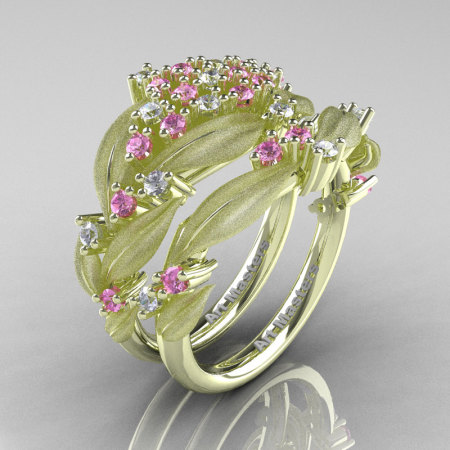 Nature Classic 14K Green Gold Light Pink and White Sapphire Cluster Leaf and Vine Engagement Ring Wedding Band Set R343SS-14KGRGWSLPS-1
