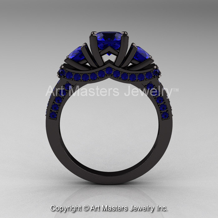 French 14K Black Gold Three Stone Blue Sapphire Wedding Ring Engagement Ring