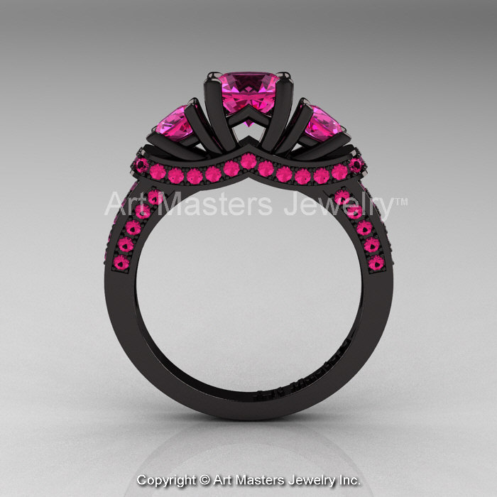 French 14K Black Gold Three Stone Pink Sapphire Engagement Ring Wedding Band