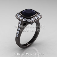 Legacy 14K Black Gold 2.0 Ct Cushion Black and White Diamond Engagement Ring R60E-14KBGDBD-1