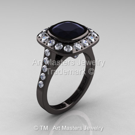 Legacy 14K Black Gold 2.0 Ct Cushion Black and White Diamond Engagement Ring R60E-14KBGDBD-1