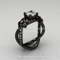 Designer Classic 14K Black Gold 1.0 CT White Sapphire Diamond  Leaf and Vine Wedding Ring Engagement Ring R180-14KBGDWS-1