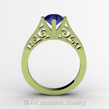 14K Green Gold New Fashion Design Solitaire 1.0 CT Blue Sapphire Bridal Wedding Ring Engagement Ring R26A-14KGGBS-1