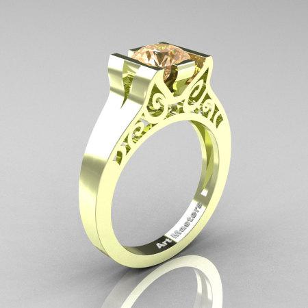 Modern Classic 14K Green Gold 1.0 CT Champagne Diamond Engagement Ring Wedding Ring R36N-14KGGCHD-1