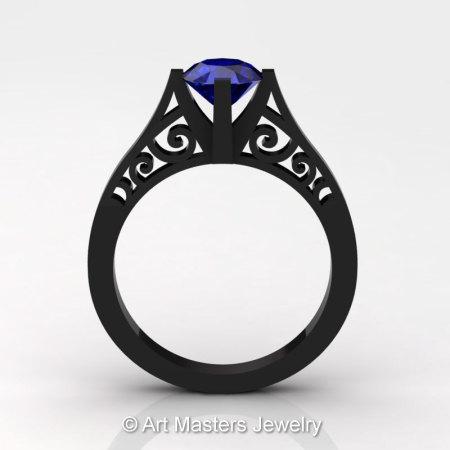 14K Black Gold New Fashion Design Solitaire 1.0 CT Blue Sapphire Bridal Wedding Ring Engagement Ring R26A-14KBGBS-1