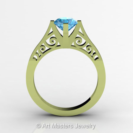 14K Green Gold New Fashion Design Solitaire 1.0 CT Blue Topaz Bridal Wedding Ring Engagement Ring R26A-14KGGBT-1