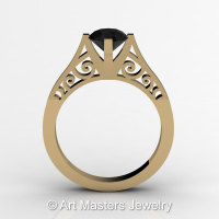 14K Yellow Gold New Fashion Design Solitaire 1.0 CT Black Diamond Bridal Wedding Ring Engagement Ring R26A-14KYGBD-1