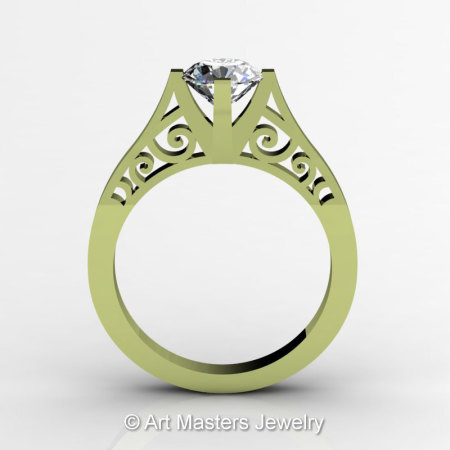 14K Green Gold New Fashion Design Solitaire 1.0 CT White Sapphire Bridal Wedding Ring Engagement Ring R26A-14KGGWS-1