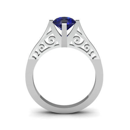 14K White Gold New Fashion Design Solitaire 1.0 CT Blue Sapphire Bridal Wedding Ring Engagement Ring R26A-14KWGBS-1