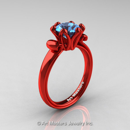 Modern Antique 14K Coral Red Gold 1.5 Carat Swiss Blue Topaz Solitaire Engagement Ring AR127-14KCRGSBT-1