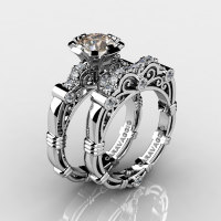 Art Masters Caravaggio 14K White Gold 1.0 Ct Champagne and White Diamond Engagement Ring Wedding Band Set R623S-14KWGDCHD-1