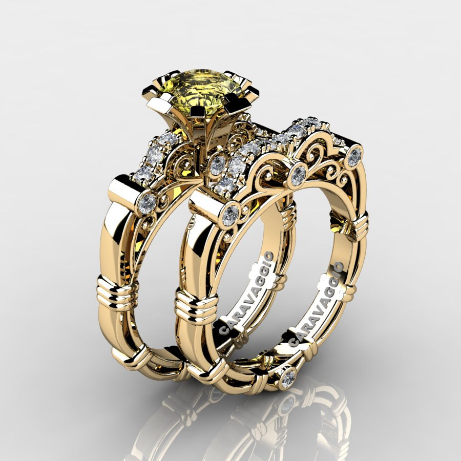 Art Masters Caravaggio 14k Yellow Gold 1 0 Ct Topaz Diamond Engagement Ring Wedding Band Set