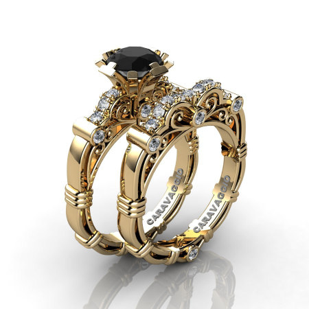 Art Masters Caravaggio 18K Yellow Gold 1.0 Ct Black and White Diamond Engagement Ring Wedding Band Set R623S-18KYGDBD-1