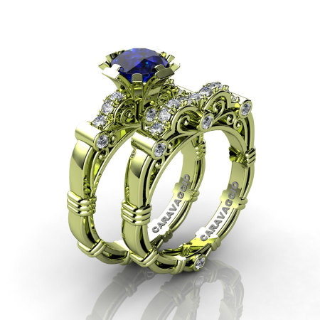 Art Masters Caravaggio 18K Green Gold 1.0 Ct Blue Sapphire Diamond Engagement Ring Wedding Band Set R623S-18KGGDBS-1